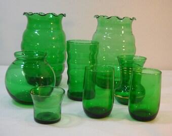 Vintage Lot Of 8 Green Glass Vases Glasses Estate Find Free Shipping