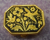 Vintage Bird Dove Pill Box Gold Container Trinket Ring Jewelry Medicine Purse Small Hinged