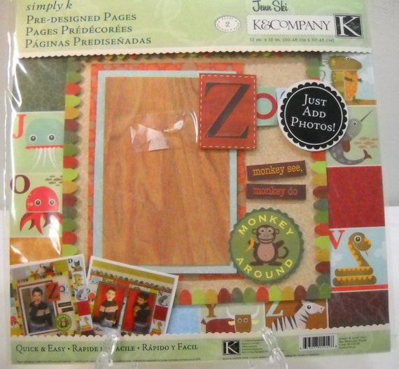 Scrapbook Pages K Company Simply K 12 X 12 Zoo Pre Designed Etsy
