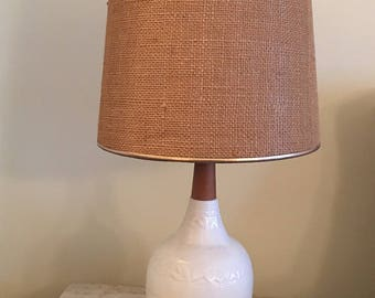 Mid Century Modern White Ceramic Wood Table Lamp / 1950s White Table Lamp /  Reserved For Allison