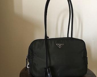 Vintage Prada Green Handbag   Prada Shoulder Bag with Lock and Keys   Italian  Designer Purse 4ad899758e1de