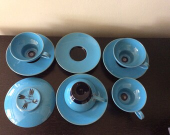 Mid Century Modern Blue Danish Boheme Cups and Saucers / 1950s Danish Ceramic Cups Set of Four