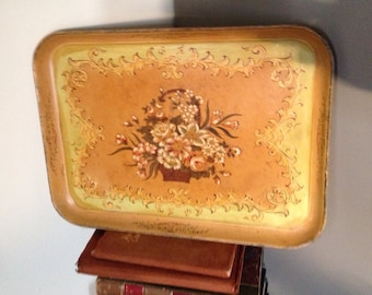 Vintage Paper Mâché Yellow Floral Tray / made in Japan