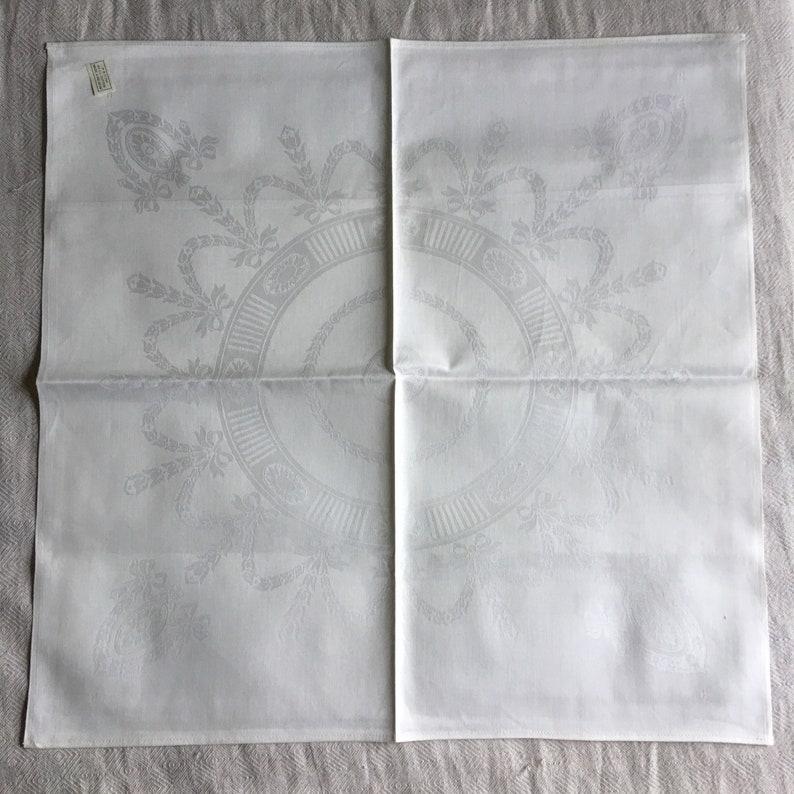 Vintage Cotton Damask Napkins Unused  Set of Eight Large Elegant Napkins  Belgian Damask Dinner Napkins