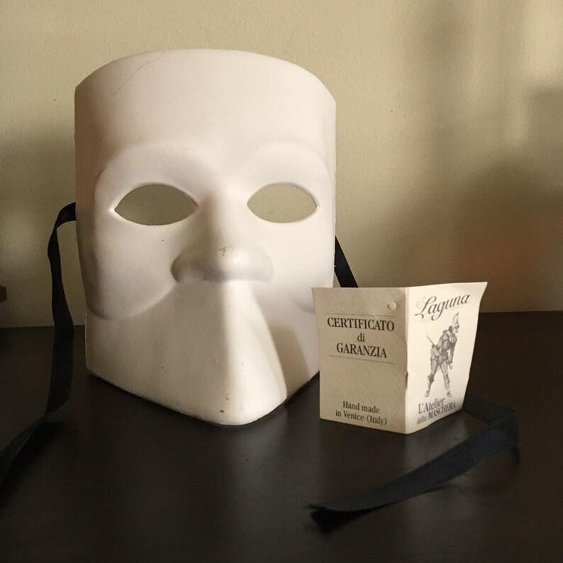 Laguna Venetian White Paper Mask  Hand Made in Venece Italy Mask Male  Carnevale Mask  Venician Mask