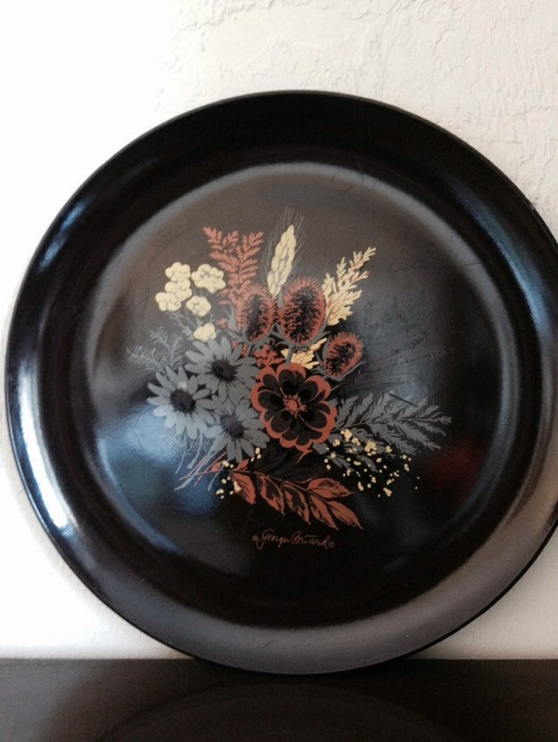 Vintage Round Tray Brown Melamine Floral Design by Georges Briard | FL
