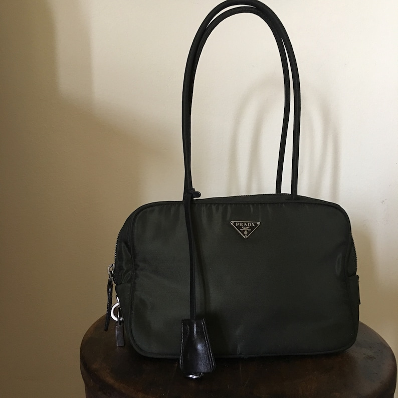 Vintage Prada Green Handbag   Prada Shoulder Bag with Lock and  32b60c1beb6fa