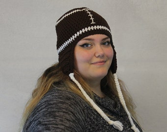 Crochet Football Hat / THE FOOTBALL EARFLAP