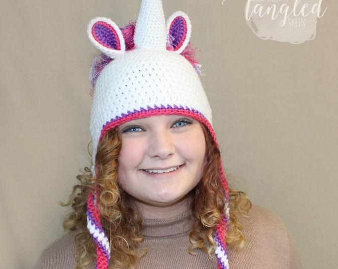 Crochet Unicorn Hat / THE UNICORN EARFLAP