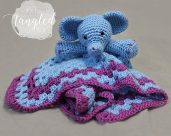 Crochet Elephant Blankie / Security Blanket / ELEPHANT LOVEY