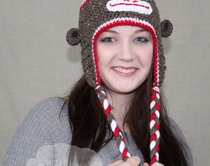 Crochet Sock Monkey Hat / Traditional Sock Monkey / SOCK MONKEY EARFLAP