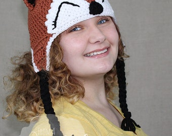 Crochet Fox Hat / FOX EARFLAP