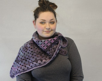 Crochet Scarf / Triangle / Granny Square / Shawl / THE GERTRUDE SCARF