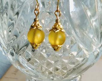 Lemon Yellow Dangle Earrings ~ Yellow Dangle Earrings