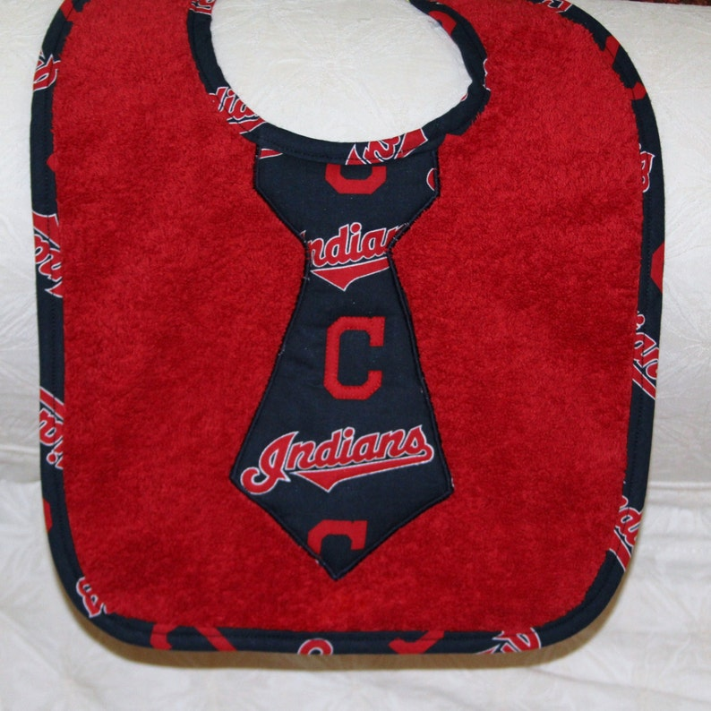 Cleveland Indians Baby Tie Bib with Indians Fabric on Red Terry Cloth and Indians Baseball Trim for Cleveland Indians Baseball Baby Boy