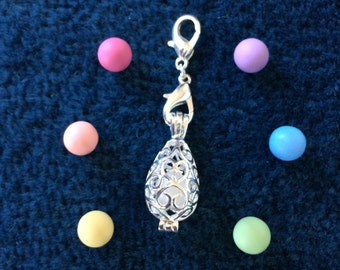 Teardrop Essential Oil Diffuser silver plated filigree Locket