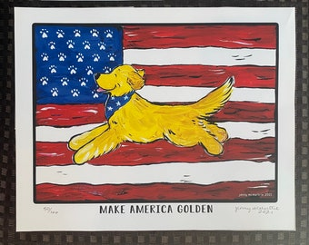Golden Retriever America  limited edition 8x10 signed numbered print