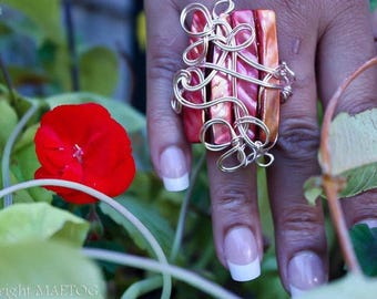 Coral Wire Wrapped Shell Ring
