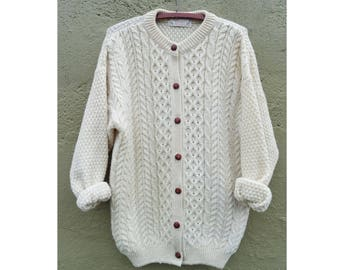 Vintage Scottish Pure Wool Cream Colored Fisherman Cardigan- Oversized M/L