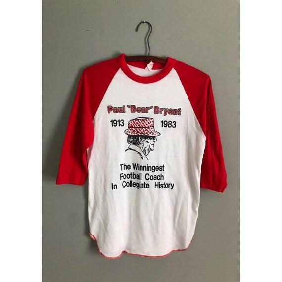 Vintage Alabama Football Paul Bear Bryant Raglan Baseball Tshirt