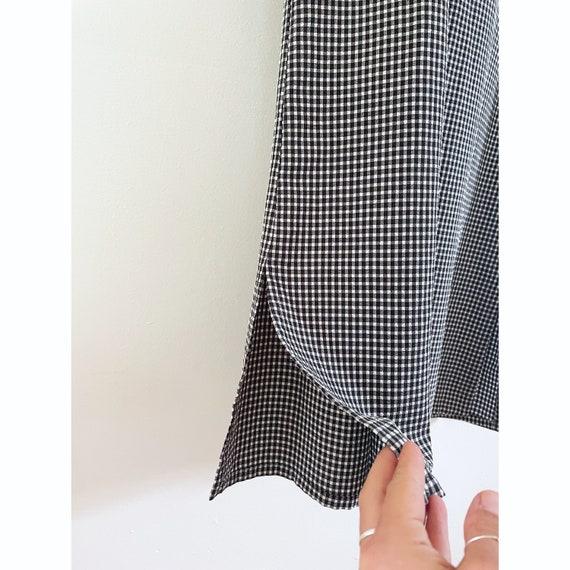 90s Gingham Black & White Checked Maxi Dress- Siz… - image 4