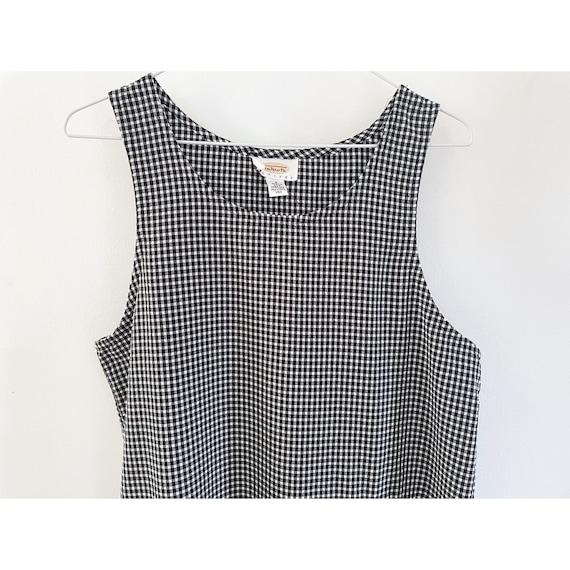 90s Gingham Black & White Checked Maxi Dress- Siz… - image 6