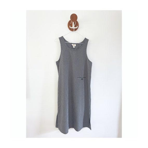 90s Gingham Black & White Checked Maxi Dress- Siz… - image 1