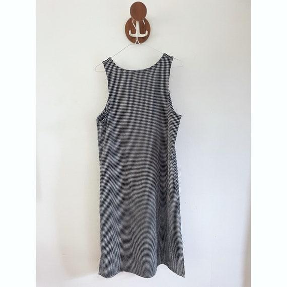 90s Gingham Black & White Checked Maxi Dress- Siz… - image 2
