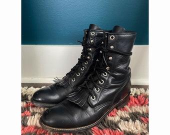 Vintage Black Leather Justin Roper Ankle boots- Women's Size 6B