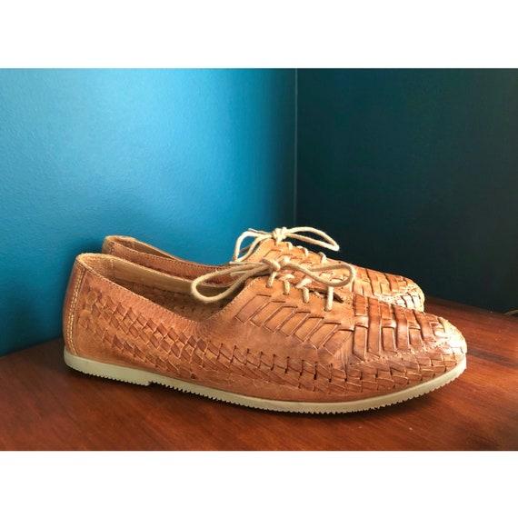 Vintage Woven Leather Lace up Huarache Sandals- Un