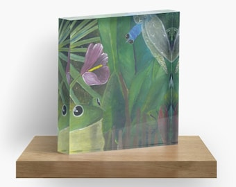 Wetland painting by Margo Humphries printed onto Acrylic Block