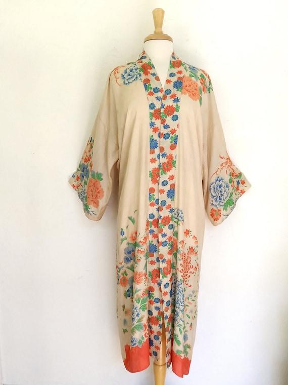 Antique 1920's Pongee Silk Japanese Floral  Robe K