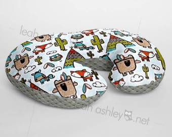 Minky Boppy® Pillow Cover - Pow Wow Tribal Woodland Foxes MINKY with Charcoal MINKY Dot OR Choose Your Minky Dot Color - BC3