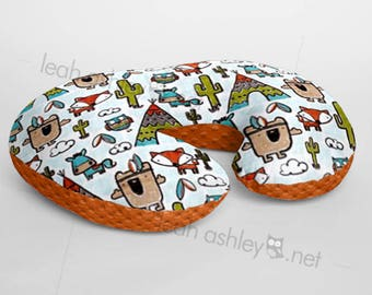 Minky Boppy® Pillow Cover - Pow Wow Tribal Woodland Foxes MINKY with Rust MINKY Dot OR Choose Your Minky Dot Color - BC3