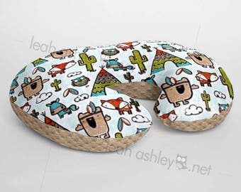 Minky Boppy® Pillow Cover - Pow Wow Tribal Woodland Foxes MINKY with Sand MINKY Dot OR Choose Your Minky Dot Color - BC3