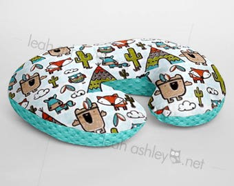 Minky Boppy® Pillow Cover - Pow Wow Tribal Woodland Foxes MINKY with Light Teal MINKY Dot OR Choose Your Minky Dot Color - BC3