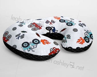 Minky Boppy® Pillow Cover - Monster Truck Rally Minky WITH Black Minky Dot OR Choose Your Minky Dot Color - BC3