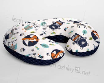 Minky Boppy® Pillow Cover - Into The Woods Foxes Owls Woodland MINKY with Navy MINKY Dot OR Choose Your Minky Dot Color - BC3