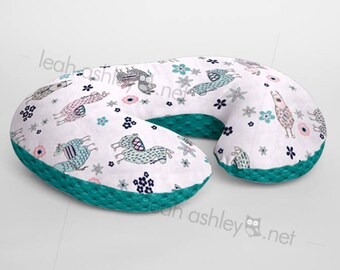 Minky Boppy® Pillow Cover - Llamas MINKY with Teal MINKY Dot OR Choose Your Minky Dot Color - BC3