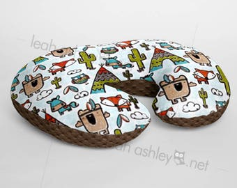Minky Boppy® Pillow Cover - Pow Wow Tribal Woodland Foxes MINKY with Chocolate MINKY Dot OR Choose Your Minky Dot Color - BC3