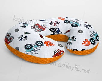 Minky Boppy® Pillow Cover - Monster Truck Rally Minky WITH Orange Minky Dot OR Choose Your Minky Dot Color - BC3