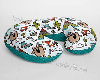 Minky Boppy® Pillow Cover - Pow Wow Tribal Woodland Foxes MINKY with Teal MINKY Dot OR Choose Your Minky Dot Color - BC3