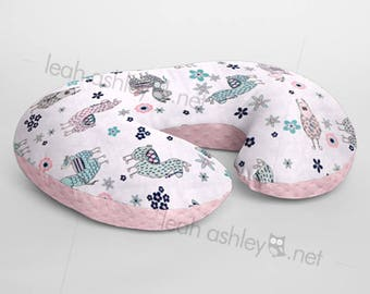 Minky Boppy® Pillow Cover - Llamas MINKY with Pink MINKY Dot OR Choose Your Minky Dot Color - BC3
