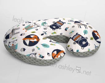 Minky Boppy® Pillow Cover - Into The Woods Foxes Owls Woodland MINKY with Charcoal MINKY Dot OR Choose Your Minky Dot Color - BC3