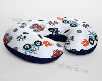 Minky Boppy® Pillow Cover - Monster Truck Rally Minky WITH Midnight Blue Minky Dot OR Choose Your Minky Dot Color - BC3