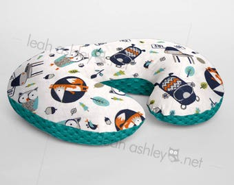 Minky Boppy® Pillow Cover - Into The Woods Foxes Owls Woodland MINKY with Teal MINKY Dot OR Choose Your Minky Dot Color - BC3