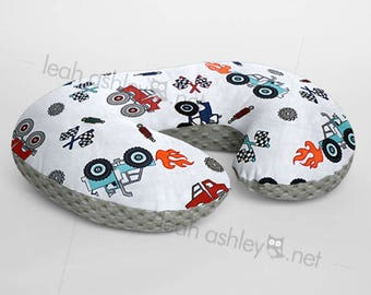 Minky Boppy® Pillow Cover - Monster Truck Rally Minky WITH Charcoal Gray Minky Dot OR Choose Your Minky Dot Color - BC3