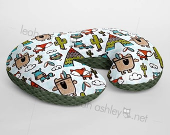 Minky Boppy® Pillow Cover - Pow Wow Tribal Woodland Foxes MINKY with Hunter Green MINKY Dot OR Choose Your Minky Dot Color - BC3