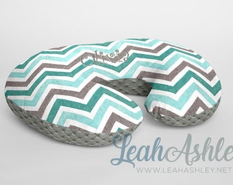 Boppy® Cover, Nursing Pillow Cover - Teal, Topaz, Charcoal Gray, White Chevron WITH Charcoal Gray Minky Dot OR Choose Minky Dot Color - BC3