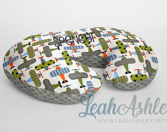 Minky Boppy® Pillow Cover - Kiwi Green, Sky, Charcoal, Orange Airplanes Minky with Charcoal MINKY Dot OR Choose Your Minky Dot Color - BC3
